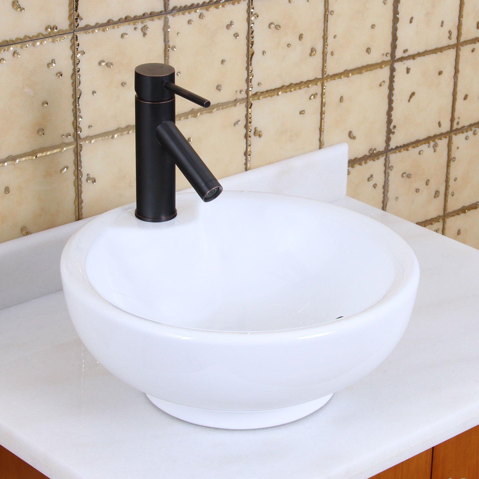 ELITE Bathroom White Bowl Round Ceramic Porcelain Vessel Sink & Short Oil Rubbed Bronze Faucet by ELITE