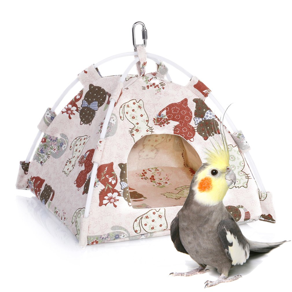 KINTOR Bird Nest House Bed, Parrot Habitat Cave Hanging Tent, Vibrant Parakeet Snuggle Hut Hammock, For Hamster Ferret Sugar Glider Rats Mice Chinchinlla Small Animals