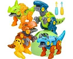 Sanlebi Dinosaur Toys for Kids 3-5 - Building Dino Egg Take Apart Toys with Screwdrivers DIY Construction Engineering Set STE