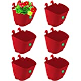 Set of 6 Vertical Gardening Plastic Hanging POTS/PLANTERS (Red) - Small