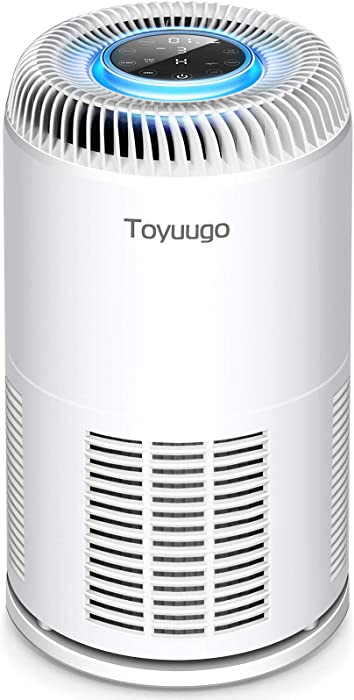 Toyuugo HEPA Air Purifier for Home Bedroom Office with PM2.5 Air Quality Auto Sensor, 8-in-1 Air Cleaner with True HEPA Filter for Allergies and Pets Hair, Smokers, Auto & Sleep Mode, Timer, Child Lock (White)