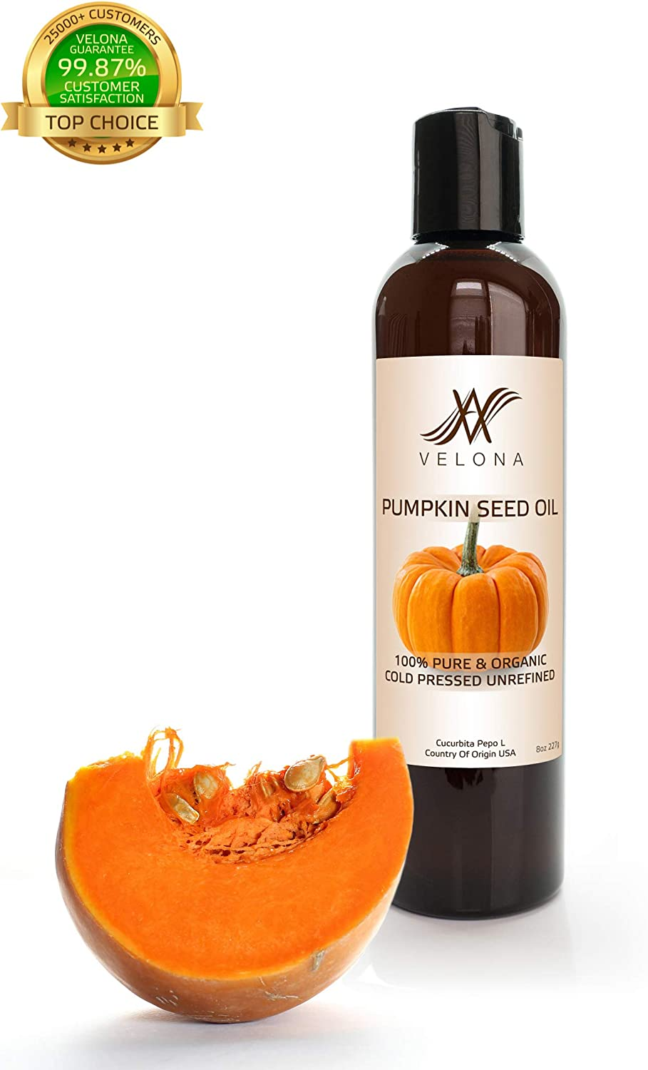 100% Organic Pumpkin Seed Oil by Velona | All Natural for Hair, Body and Skin Care | Unrefined, Cold Pressed | Size: 8 OZ
