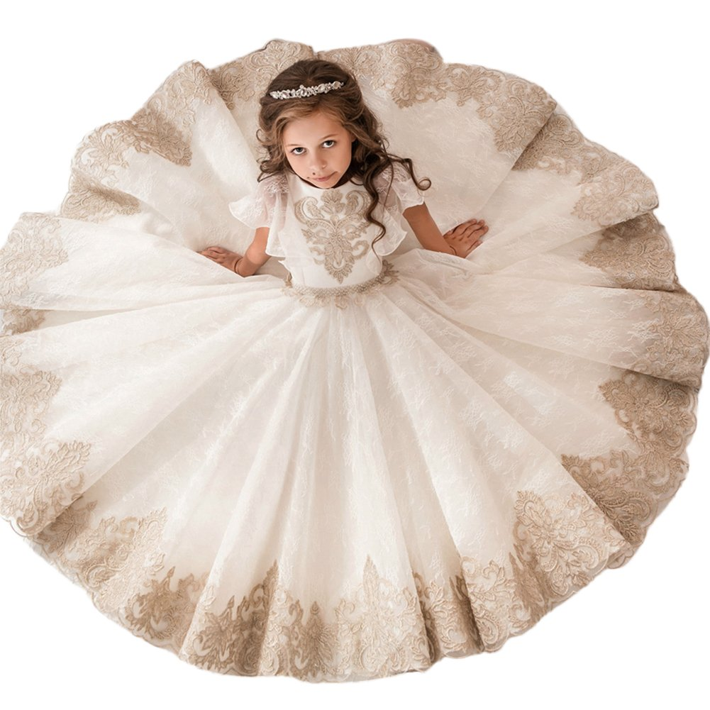 56d2395ae Amazon.com  Girls Flower Lace Princess Christmas Communion Tulle ...
