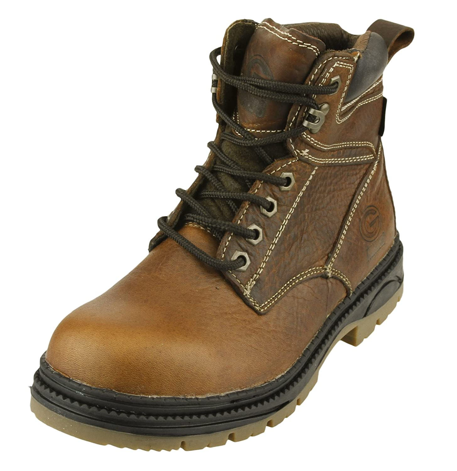 Green Bay Packers NFL Mens Rounded Steel Toe Lace up Leather Work Boots, Brown