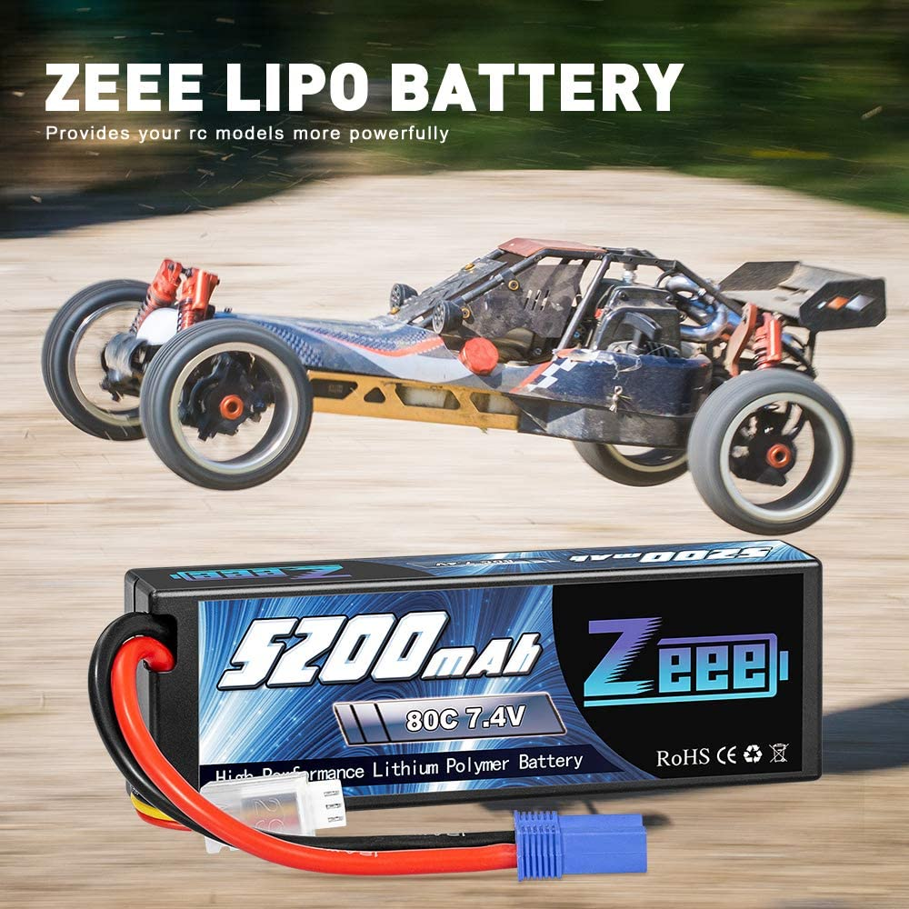 Zeee 7.4V 2S 5200mAh 80C RC Lipo Hard Case Battery with EC5 Plug for 1//8 1//10 RC Vehicles Car Traxxas Slash X-Maxx RC Buggy Truggy RC Airplane UAV Drone FPV 2 Pack