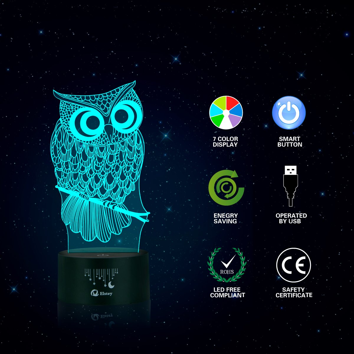 Owl 3D Illusion Lamp, Elstey 7 Color Changing Touch Table Desk LED Night Light Great Kids Gifts Home Decoration by Elstey (Image #5)