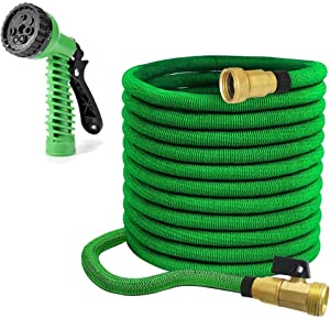 """MTB Upgraded Expandable Garden Hose,75-ft (Green) Extra Strenfth Fabric Garden Water Hose, with Spray Nozzle and 3/4"""" Solid Brass Fittings"""
