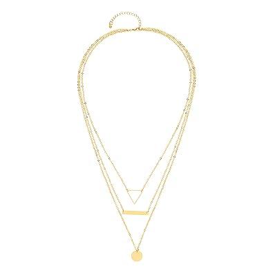 6542e68eb6a2 Front Row collar mujer cadena triple color de oro con colgantes - longitud  44-49cm  Amazon.es  Joyería