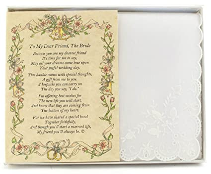 Wedding Handkerchief Poetry Hankie Friend To Bride White Lace Embroidered Bridal Keepsake Beautiful Poem Long Lasting Memento For The Bride