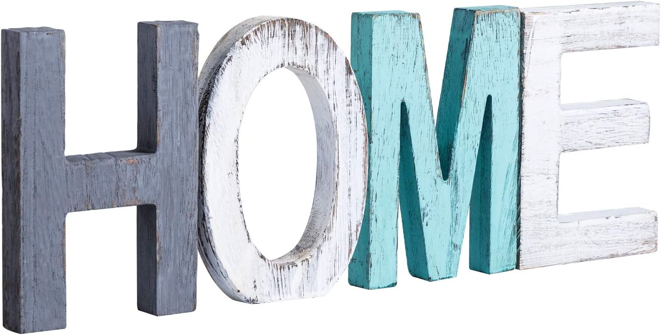 Y&Me Rustic Wood Home Sign, Decorative Wooden Block Word Signs, Freestanding Wooden Letters, Rustic Home Signs for Home Decor, 16.5 x 5.9 Inch, Multicolor: Home & Kitchen