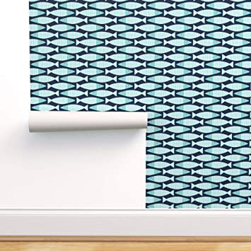 Spoonflower Peel And Stick Removable Wallpaper Modern Nautical Fish Navy Ocean Beach Waves Bass Print Self Adhesive Wallpaper 12in X 24in Test Swatch Amazon Com