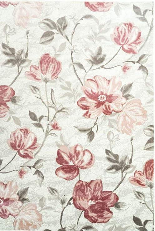Luxury Contemporary Rug 8x11 Red Flowers Area Rugs 9x12 Grayish Blue 5x8 Carpet