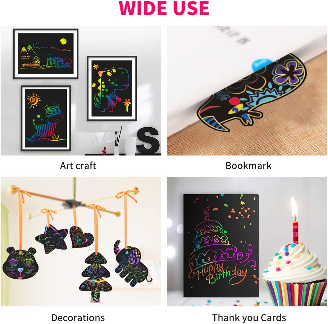 210 x 280mm RUIYIQI 55 PCS Scratch Paper for Kids Rainbow Scratch Art Sheet Set Include Million Flower Ruler Drawing Stencils and Stylus for DIY Creative Painting