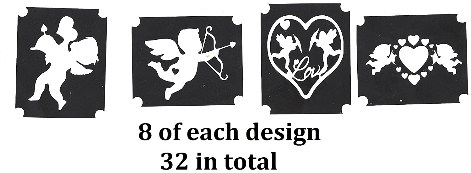 Valentine and Christmas Tattoo Stencil Collections (32 Tattoo Glitter Airbrush Stencil Cupid)