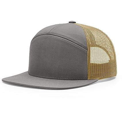 46e71caf12d Amazon.com  2040USA Richardson 7 Panel Mesh Trucker Hat (Charcoal Burnt  Orange Black)  Clothing