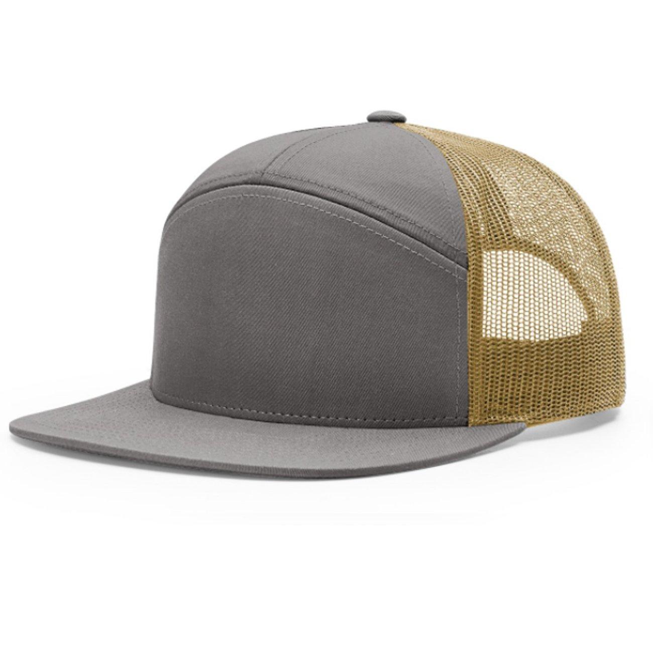 c3b5c054a3b Amazon.com  2040USA Richardson 7 Panel Mesh Trucker Hat (Charcoal Burnt  Orange Black)  Clothing