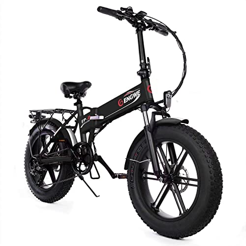 ENGWE Electric Mountain Bicycle 500W 20 Fat Tire Electric Folding Beach Snow Bike for Adults, Aluminum Electric Scooter 7 Speed Gear E-Bike with Removable 48V12.5A Lithium Battery