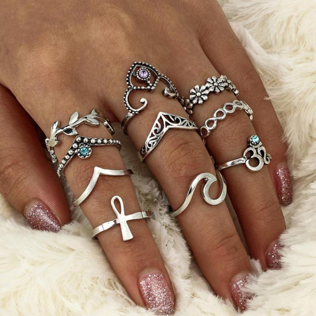 Becoler Stack Rings Above Knuckle Blue Rings 10Pcs