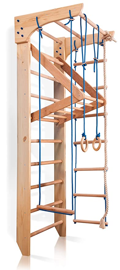 Amazon.com : Wall Bars for Kids, Wood Stall Bar, Wooden Swedish ...