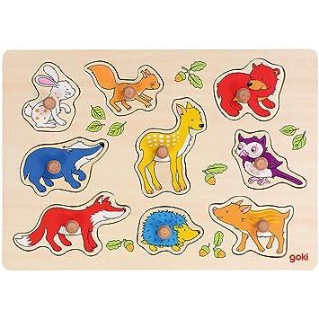 Goki 57829 Steckpuzzle afrikanische Tierkinder 9 Stück