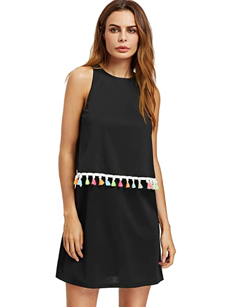 Romwe Womens Round Neck Tassel Trim Sleeveless Mini A-line Dress Black XS 077bab94a