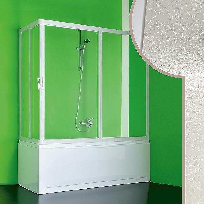 2 volets 70 x 150 x 150 cm 2 c/ôt/és ouverture dangle Rollplast BGAL1CONCC28150 Pare-baignoire style accord/éon blanc PVC
