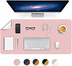 Dual-Sided Using Desk Pad Blotter Mats Table Protector Mat on Top of Writing Desks Office Laptop Computer Desktop Décor Accessory Cover Under Keyboard Mousepad for Men Girl Women PU Leather 24X48 Inch