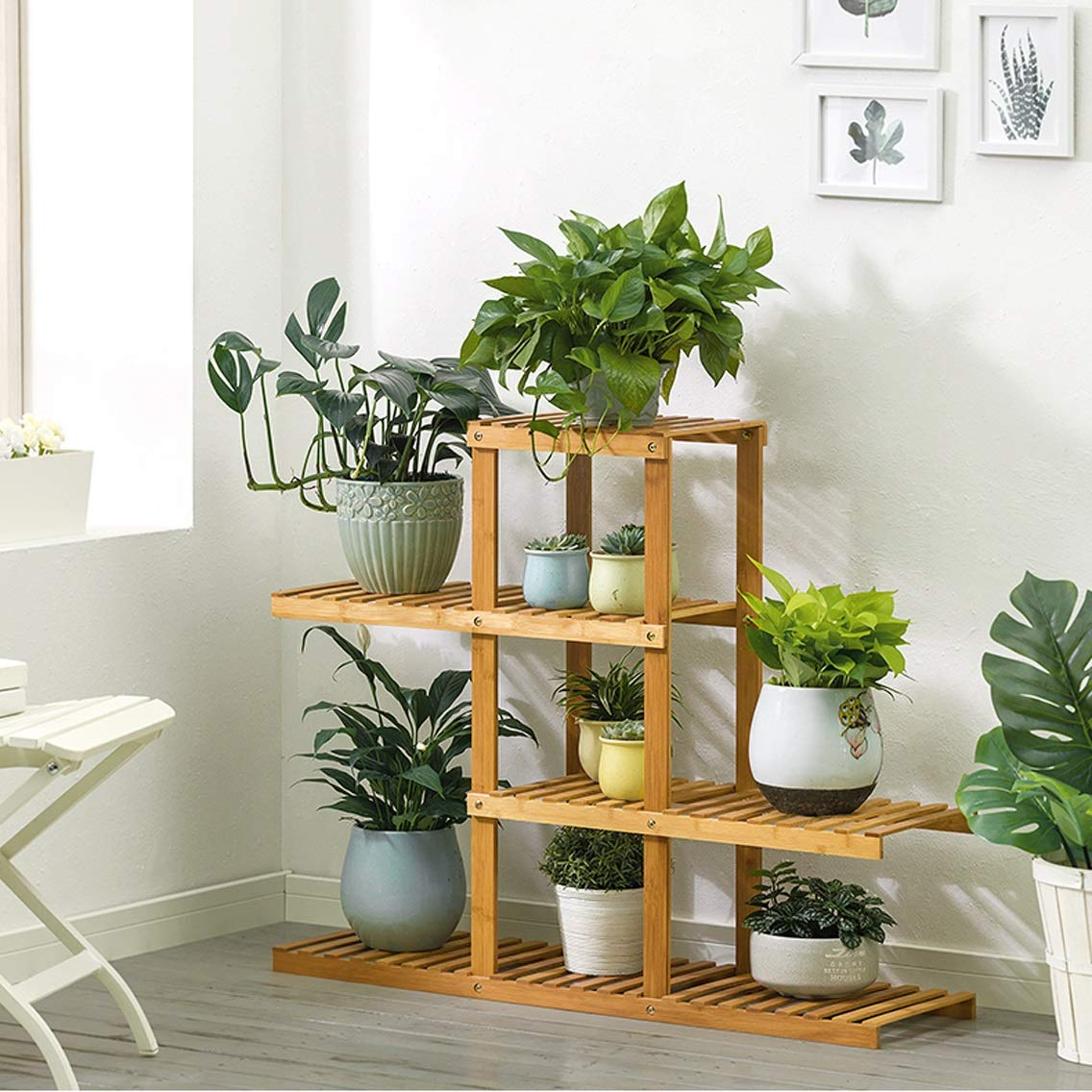 Sito ufficiale HLQW Bamboo Flower Balcone Balcone Pavimento, Multi-Layer Multi-Layer Multi-Layer Room Room Soggiorno Flower Pot Rack, The 4 Floor.  ordina adesso