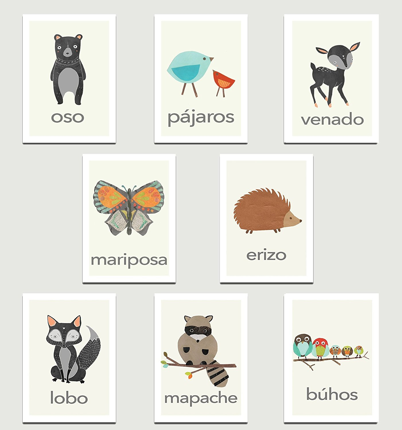 Nature Animals in Spanish Mini Collection Wall Card Prints 08x10 Inch Print, Animals, Flash Cards, Minimalist Design, Calming Colors, Wall Cards, Educational Cards, Children Animal Cards