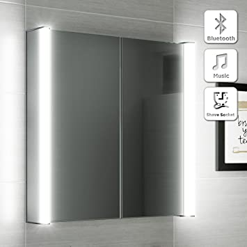 600 X 650 Illuminated LED Bathroom Mirror Cabinet Shaver Socket Bluetooth Speaker MC130