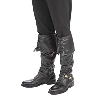 Forum Novelties Men's Deluxe Adult Pirate Boot Covers with Studs, Black, One Size