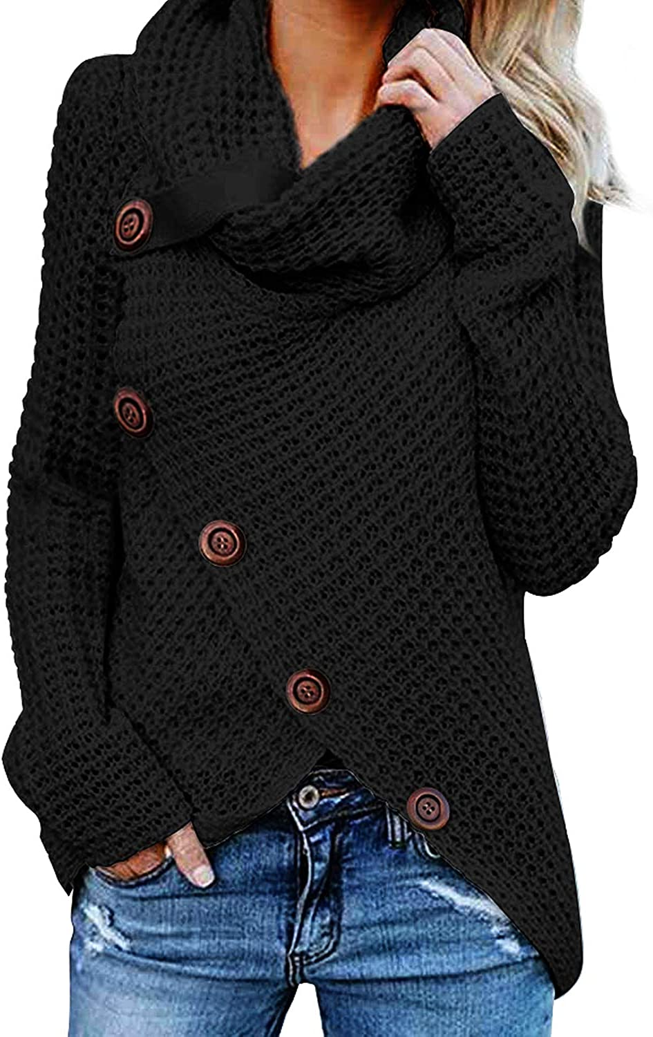 Elapsy Womens Casual Buttons Turtle Cowl Neck Asymmetric Hem Wrap Pullover Sweaters