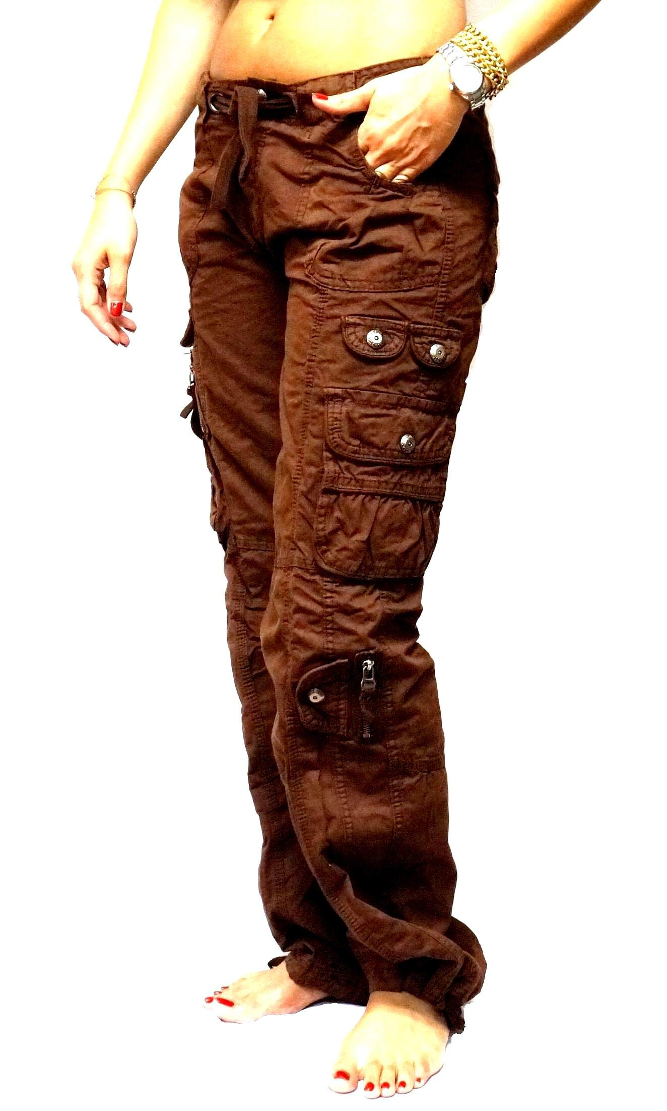 JEANS FOR LOVE Womens Cargo Utility Work Hiking Army Military Multi Pockets Combat Casual Pants (XS, Brown)