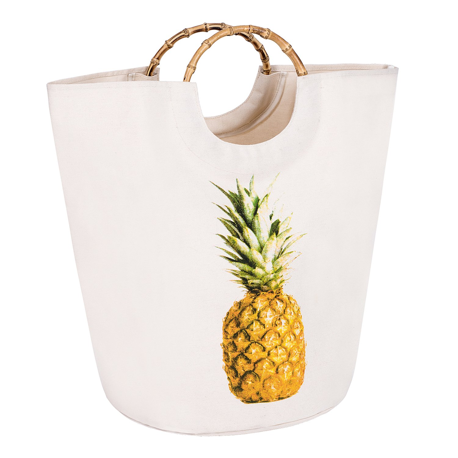 Collapsible Storage Basket - Round Foldable Canvas Fabric Storage bin with Bamboo Handles for Home Closet - Decorative Off-white/Pineapple for Organizing Clothes, Kids Rooms, Toys, Laundry, Gifts