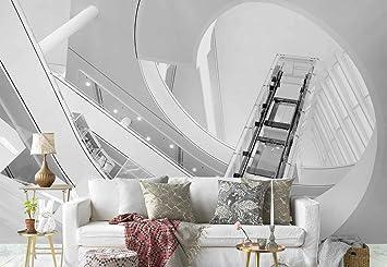 Papel Tapiz Fotomural - Ascensor De Cristal Escalera De Caracol Galerías - Tema Arquitectura - MUESTRA - 104cm x 70.5