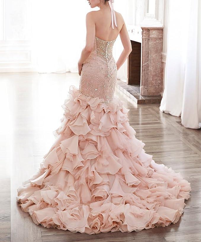 Tsbridal Beaded Mermaid Wedding Dress 2018 Sweetheart Light Pink ...