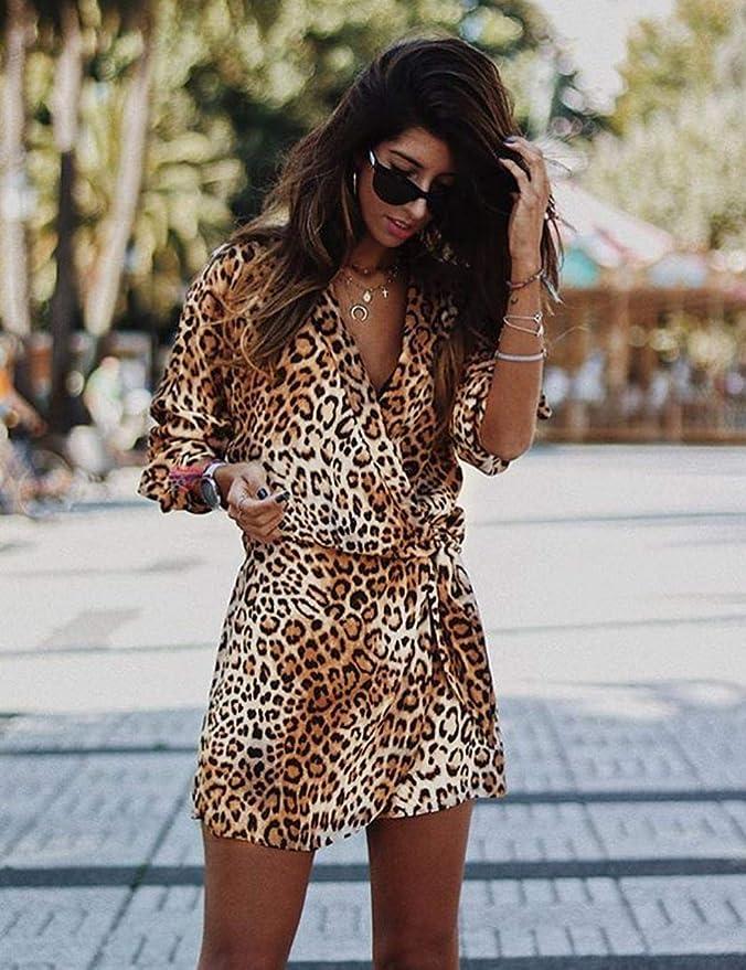 kigins Damen Minikleid Leopard Langarm Unregelmäßiger Saum
