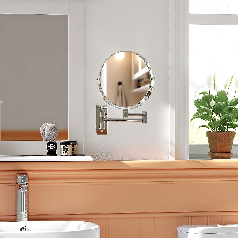 Tree-on-Life Specchio Pieghevole Rotondo per Bagno Specchio per Trucco Appeso a Parete Bagno in Hotel Punch Gratuito Dormitorio Specchio di Bellezza
