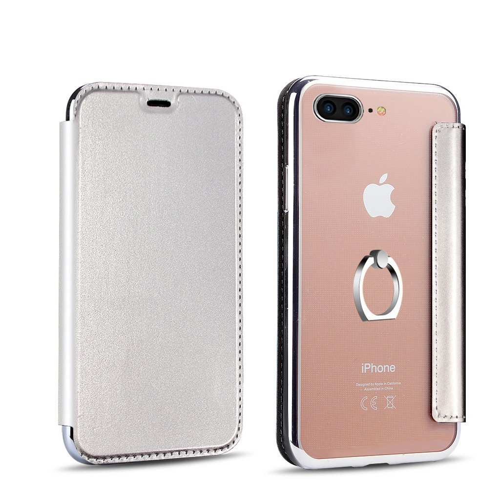 PHEZEN iPhone 7 Case,iPhone 8 Case,iPhone 7/8 Flip Case, iPhone 7/iPhone 8 Pu Leather Wallet Case,Luxury Plating Transparent TPU Rubber Back Case with Ring Holder Kickstand -Silver