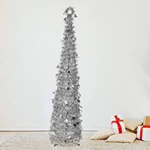 6ft Christmas Tinsel Tree, Christmas Decorations Indoor, Pop up Christmas Tree with Stand Easy-Assembly, Big Xmas Decor for Bedrooms Office (Silver)