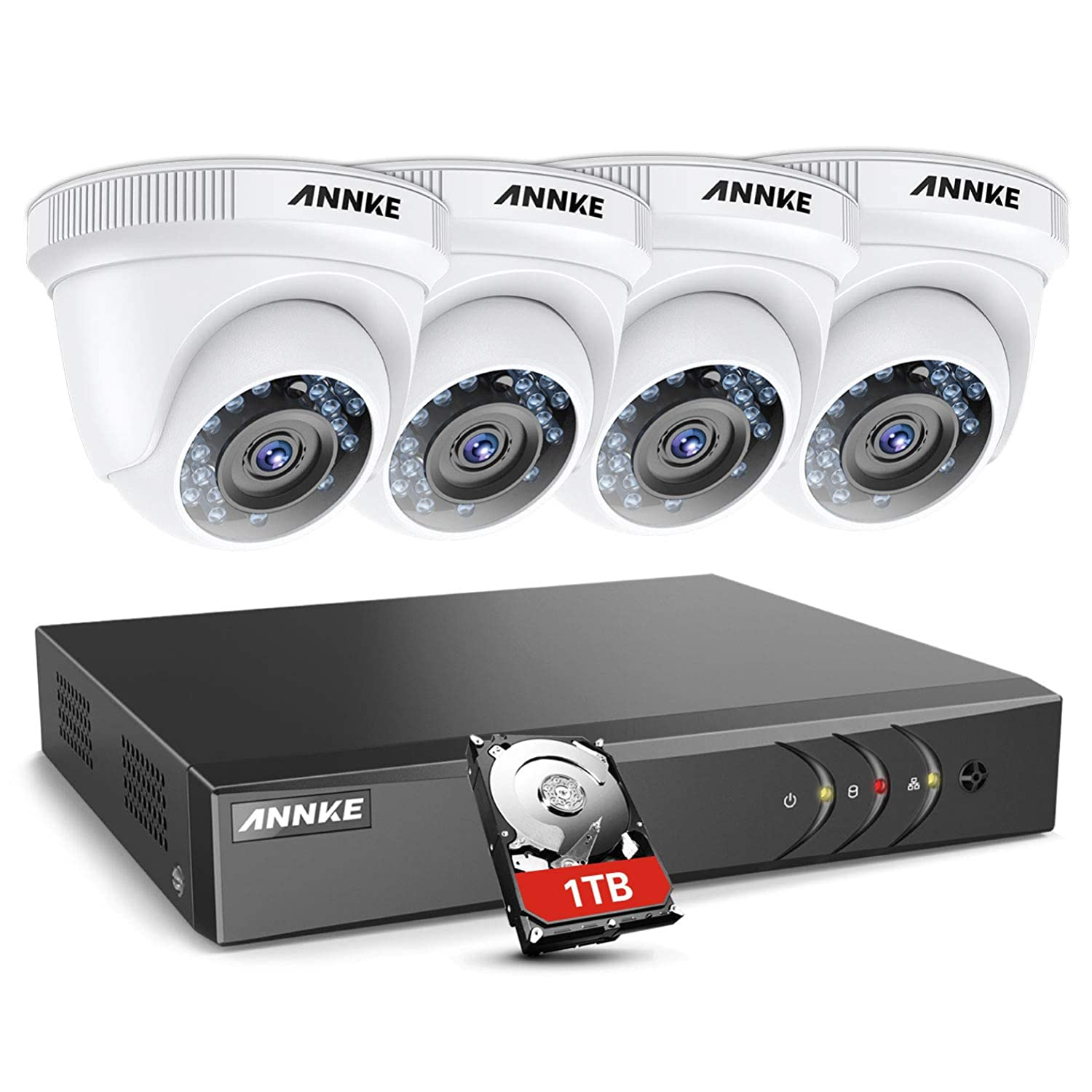 ANNKE Full HD 1080p Outdoor Security Camera System H 264+ HD-TVI DVR and  (4) 2MP 1920TVL Weatherproof Bullet Cameras, 100ft Night Vision, 1TB DVR