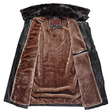 Amazon.com: Winter Sale! Mens Casual Business Pea Coat Stand Collar Zipper Knight Faux Fur Imitation Leather Jacket Outwear: Clothing