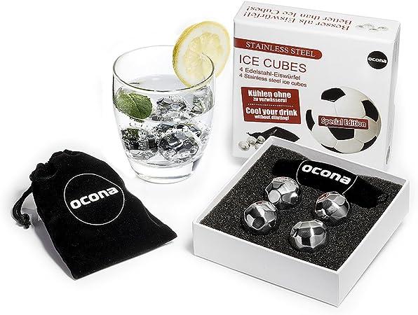 ocona piedras de whisky, cubitos de hielo, cubitos de hielo de acero inoxidable, diseño de fútbol reutilizable