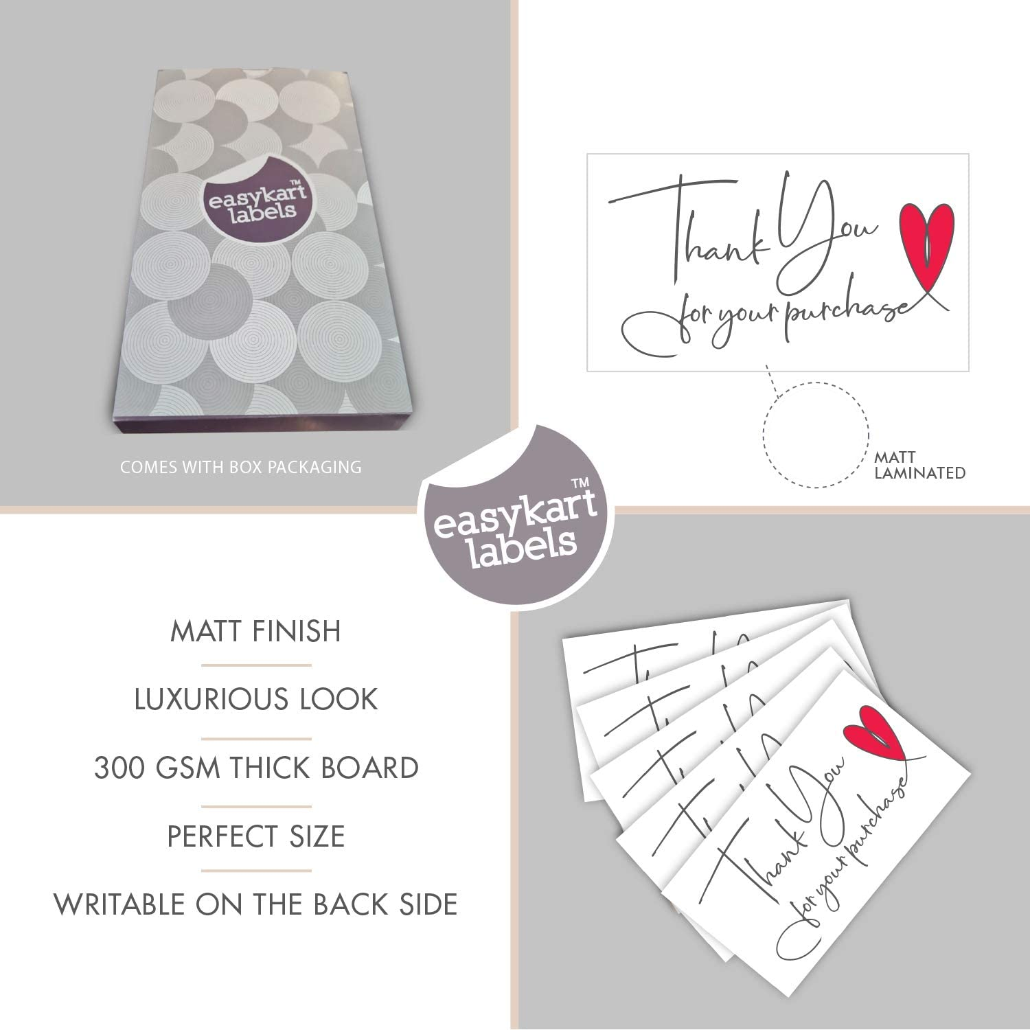 Highly Recommended For Small Business Owners 120 Thank You For Your Purchase Cards Business Card sized 300 Gsm Thick Board