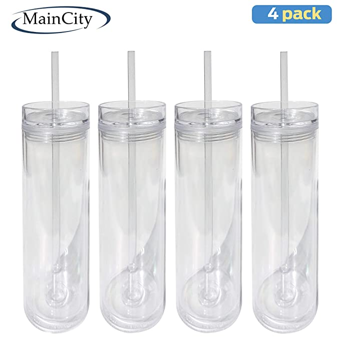 Amazon.com: MainCity - 16oz Acrylic tumbler with lids and straws double wall clear plastic tumblers Insulated tumbler 100% BPA FREE - pack of 4: Kitchen & ...