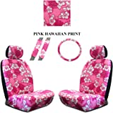 Pink Hawaiian Hawaii Aloha Print with White Hibiscus Flowers Wild Series 2PC Car Truck SUV Auto Head Rest Covers with Front Seat Low Back Bucket Seat Covers and Steering Wheel Cover and Seat Belt Shoulder Pads - 7PC Low Back Set
