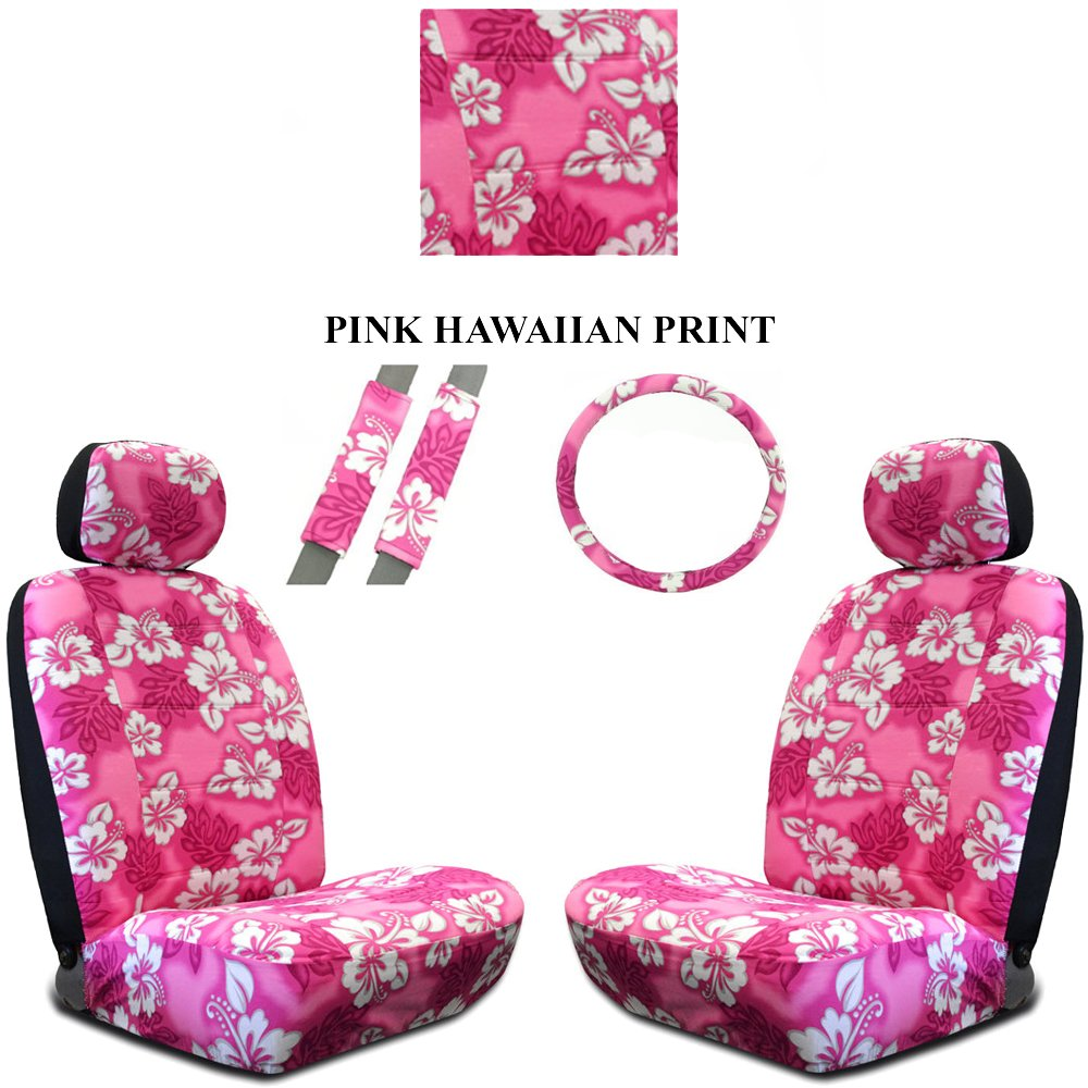 Amazon pink hawaiian hawaii aloha print with white hibiscus amazon pink hawaiian hawaii aloha print with white hibiscus flowers wild series 2pc car truck suv auto head rest covers with front seat low back bucket izmirmasajfo