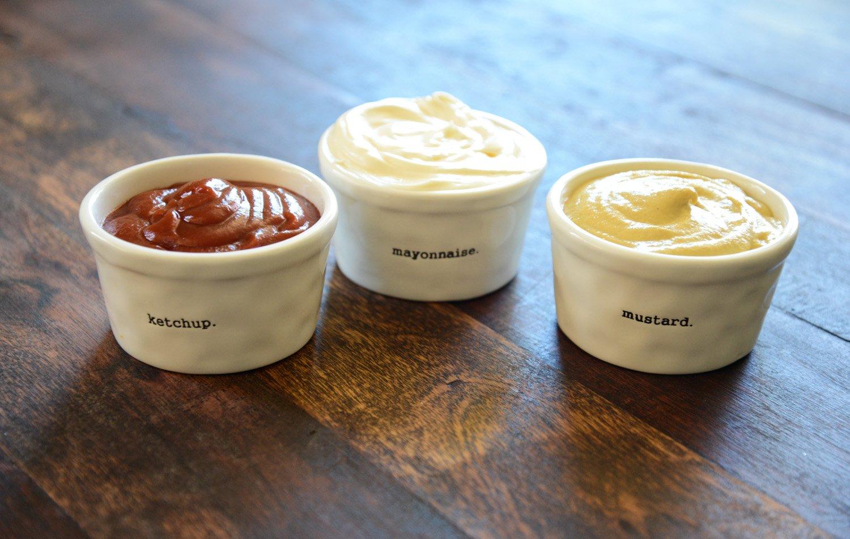 Stamped Ceramic Condiment Ramekins Set of 3 Mustard Mayonnaise Ketchup