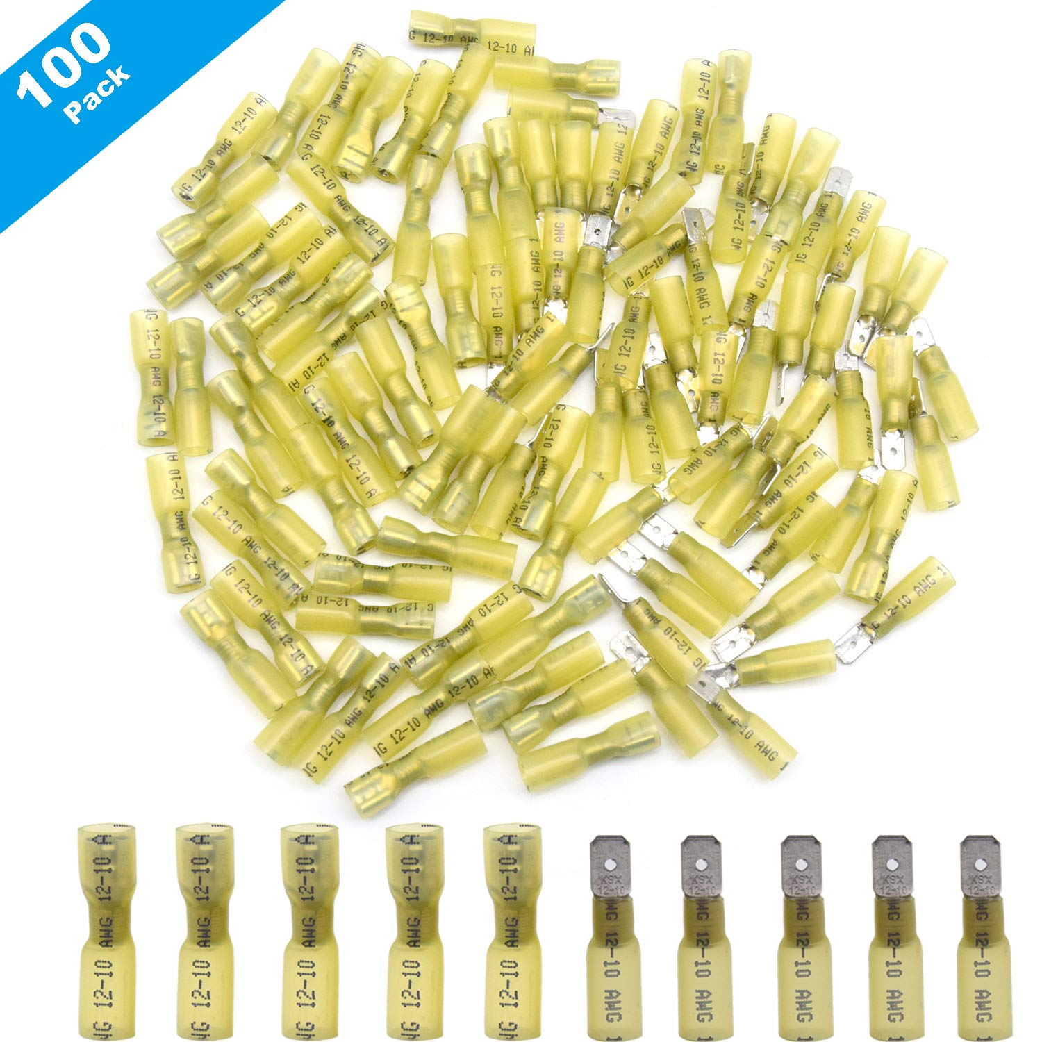 100 Pieces Fully Insulated  Female Electrical Spade Crimp Connector Terminal New