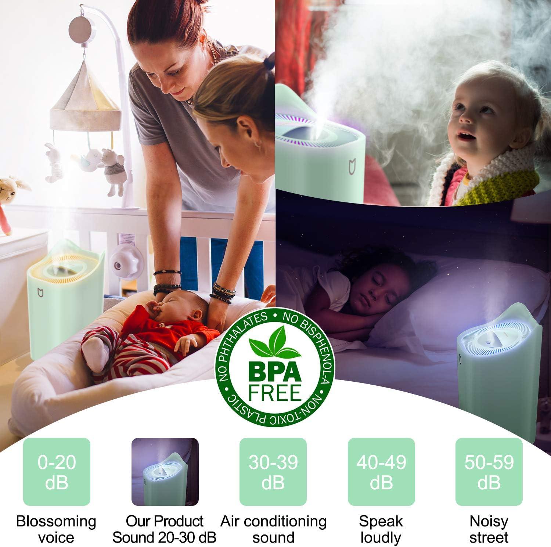 POVO Humidificador 3.3L hasta 45hrs Purificador de Aire Difusor de Aroma 7-Color LED Auto Apagado sin Agua para Dormitorio Hogar Oficina Bebé (Verde Pálido): Amazon ...